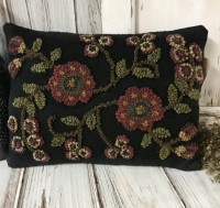 Primitive Rustic Late Summer Flower Hooked Wool Primitive Home Decor Pillow