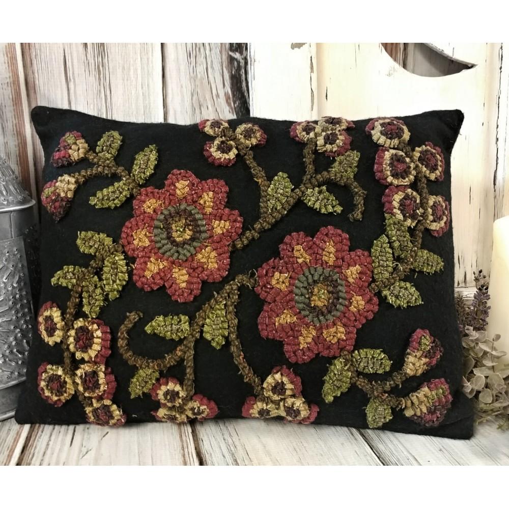 Primitive Home Decor Catalogs: Primitive Rustic Late Summer Flower Hooked Wool Primitive
