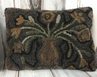 Hooked Wool Flowers in Vase Primitive Home Decor Pillow