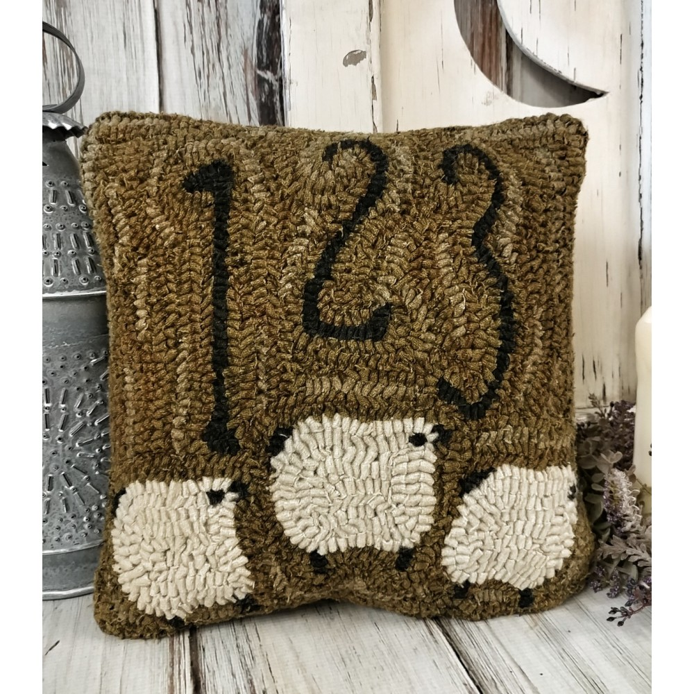 Counting Sheep Hooked Wool Primitive Home Decor Pillow