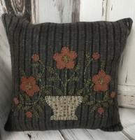 Primitive Flower Pot Wool Applique Pillow