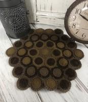 Primitive Wool Rustic Dakota Gold Wool Blend Penny Table Mat
