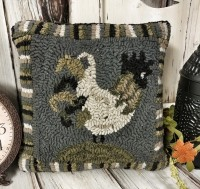 Rustic Farmhouse Hooked Wool Blue Rooster Accent Pillow - Primitive Home Decor