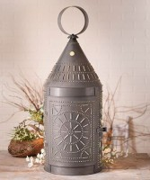 Rustic Large Electric Punched Tinner's Lantern