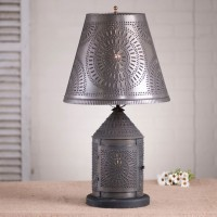 Fireside Lamp with Chisel Shade in Blackened Tin - Rustic Primitive Farmhouse Lighting