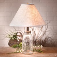 Farmhouse Style Mason Jar Table Lamp - Vintage Inspired Rustic Cottage Lighting