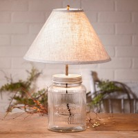 Vintage Inspired Ribbed Cookie Mason Jar Table Lamp - Cottage Farmhouse Home Lighting