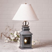 Punched Tin Rustic Farmhouse Miners Table Lamp - Antique Inspired Lighting