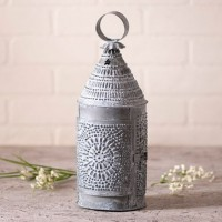 Bakers Lantern Weathered Zinc Rustic Farmhouse Taper Candle Holder