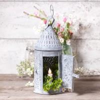 Primitive Candle Lantern - Weathered Zinc - Farmhouse Candle Holder