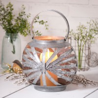 Round Galvanized Tin Candle Lantern Holder