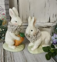Vintage Inspired Set of 2 Bunnies Figurines - Easter / Spring Home Decor