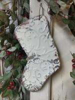 Vintage Look Metal Stocking Cream Christmas Ornament