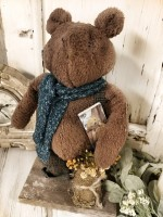 Handmade Primitive Standing Teddy Bear with Flowers & Book