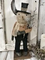 Handmade Rustic Standing Snowman Home Decor Doll