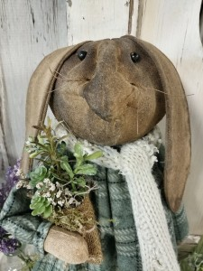 Handmade Primitive Garden Herb Bunny Standing Doll - Summer Home Decor