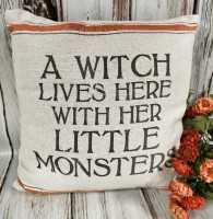 Farmhouse Style Witch Lives Here Halloween Home Decor Accent Pillow