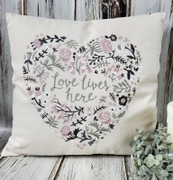 Love Lives Here Flower Heart Farmhouse Pillow