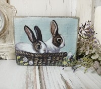 Spring Bunnies Easter Farmhouse Box Sign