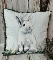 Spring Bunny in Field Farmhouse Easter Home Decor Pillow