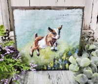 Spring Goat Farmhouse Wooden Block Sign