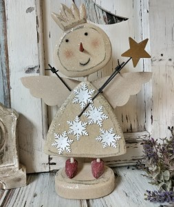 Wooden Rustic Snow Angel Winter Table Home Decor Accent