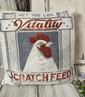 Chicken Feed Sack Farmhouse Accent Pillow