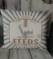 Vintage Advertising Inspired Lamb Feed Farmhouse Sheep Pillow