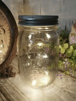 Lighted Mason Jar Lid with Timer Fairy String Lights