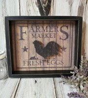 Rustic Farmhouse Fresh Eggs Rooster Reverse Kitchen Box sign