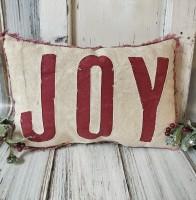 Red Joy Christmas Holiday Accent Pillow - Farmhouse Home Decor