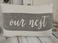 Our Nest Farmhouse Canvas Home Accent Pillow