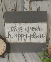 Happy Place Rustic Cottage / Farmhouse Slat Wooden Box Sign