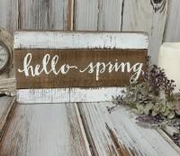 Hello Spring Wooden Slat Box Sign