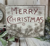 Christmas Pine Holiday Box Sign - Farmhouse Home Decor