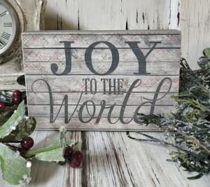 Joy to the World Holiday Message Block Sign - Farmhouse Home Decor