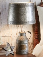 Antique Milk Can Lamp with Metal Shade