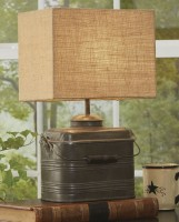 Antique Inspired Miners Lunchbox Table Lamp