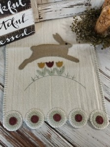 Spring Hopping Bunny Country Wool Penny Table Runner