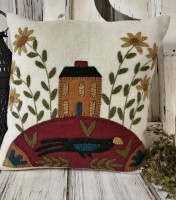 Rustic Folk Art Wool Applique Saltbox House Flower and Crow Home Accent Pillow