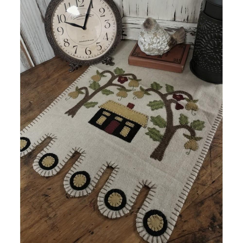 Folk Art House And Tree Wool Blend Table Runner