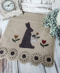 Rustic Garden Bunny Wool Applique Table Runner