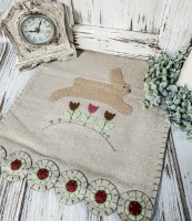Rustic Spring Bunny Wool Penny Table Runner