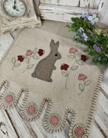 Garden Bunny Handsitched Wool Applique Table Runner