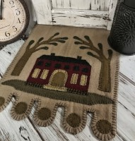 Rustic Folk Saltbox House and Tree Wool Penny Table Runner