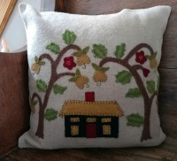 Wool Applique Folk Art House and Tree Home Accent Pillow