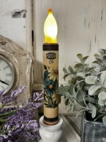 Vintage Advertising Blue & White Flower Battery Flameless Timer Taper Candle