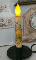 Vintage Inspired Chick with Cotton Stems Flameless Timer Taper Candle