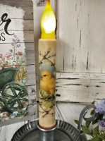 Vintage Inspired Spring Hatching Chick Battery Flameless Timer Taper Candle
