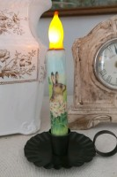 Vintage Inspired Hare with Flowers Flameless Battery Timer Taper Candle